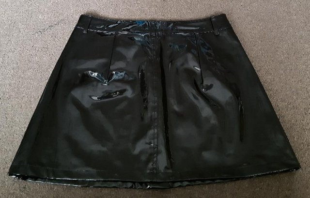 Image 2 of BNWT Pretty Little Thing Black Vinyl Mini Skirt - Size 14