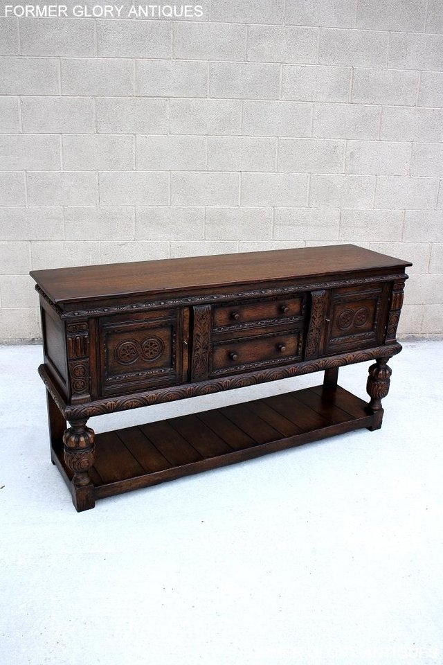 Image 10 of A TITCHMARSH AND GOODWIN CARVED OAK SIDEBOARD DRESSER BASE
