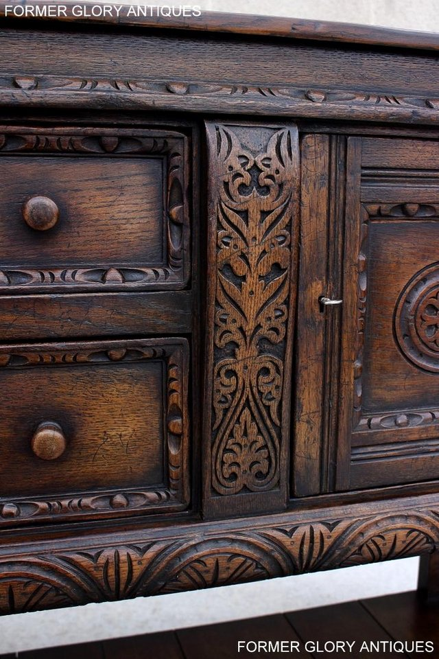 Image 35 of A TITCHMARSH AND GOODWIN CARVED OAK SIDEBOARD DRESSER BASE