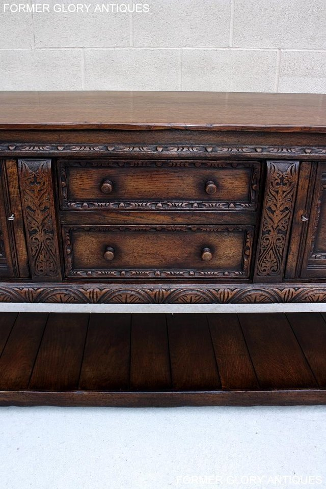 Image 45 of A TITCHMARSH AND GOODWIN CARVED OAK SIDEBOARD DRESSER BASE