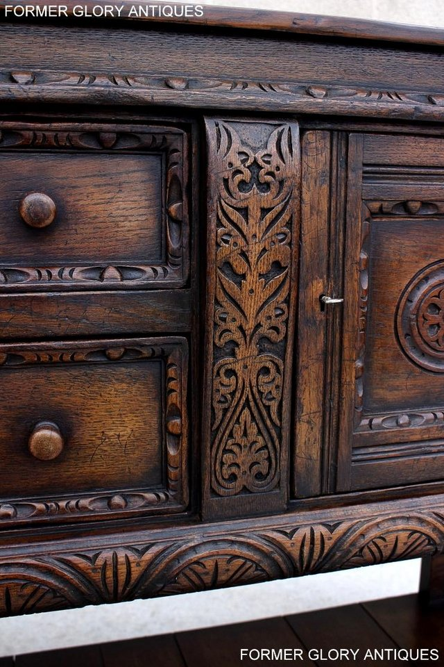 Image 55 of A TITCHMARSH AND GOODWIN CARVED OAK SIDEBOARD DRESSER BASE