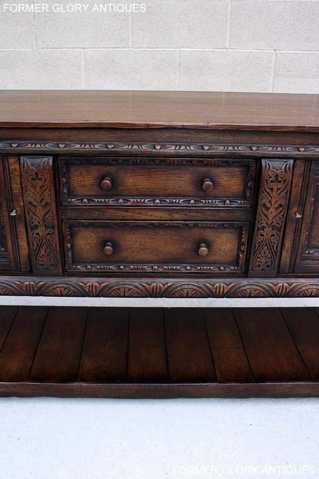 Image 84 of A TITCHMARSH AND GOODWIN CARVED OAK SIDEBOARD DRESSER BASE