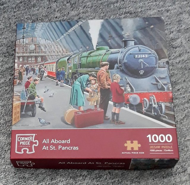 Preview of the first image of 1000 piece Jigsaw Puzzle All Aboard Steam Train.