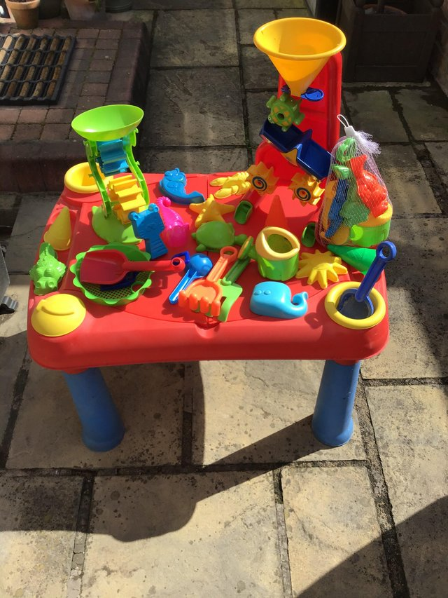 Image 4 of Child sand pit/play table with assorted toys