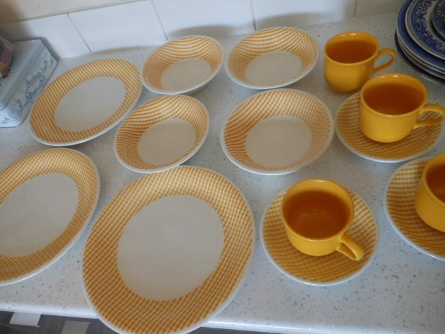 Preview of the first image of Crockery Plates Bowls Cups Saucers John Tams Orange Gingham.