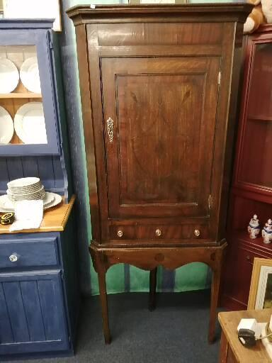 Preview of the first image of Antique Oak Corner Cabinet on Stand.