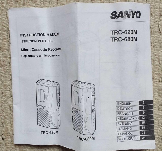 Preview of the first image of Sanyo TRC-3680 mini cassette voice recorder in pouch.