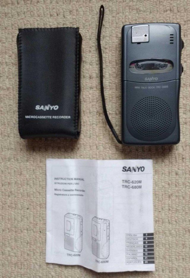 Image 2 of Sanyo TRC-3680 mini cassette voice recorder in pouch