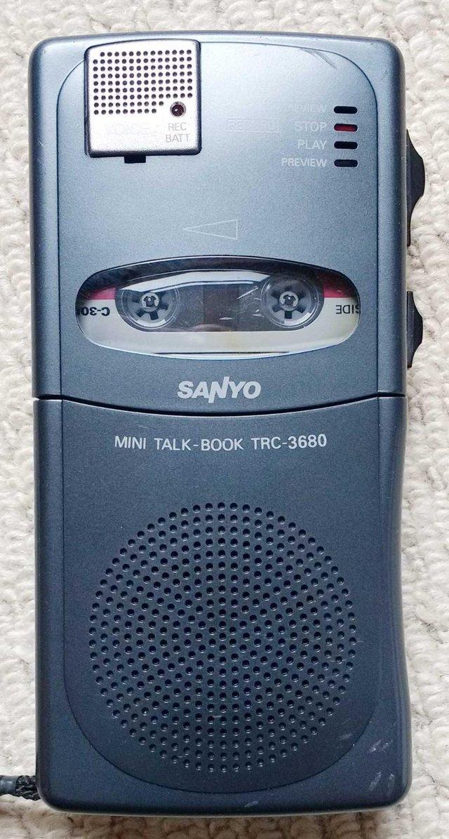 Image 3 of Sanyo TRC-3680 mini cassette voice recorder in pouch