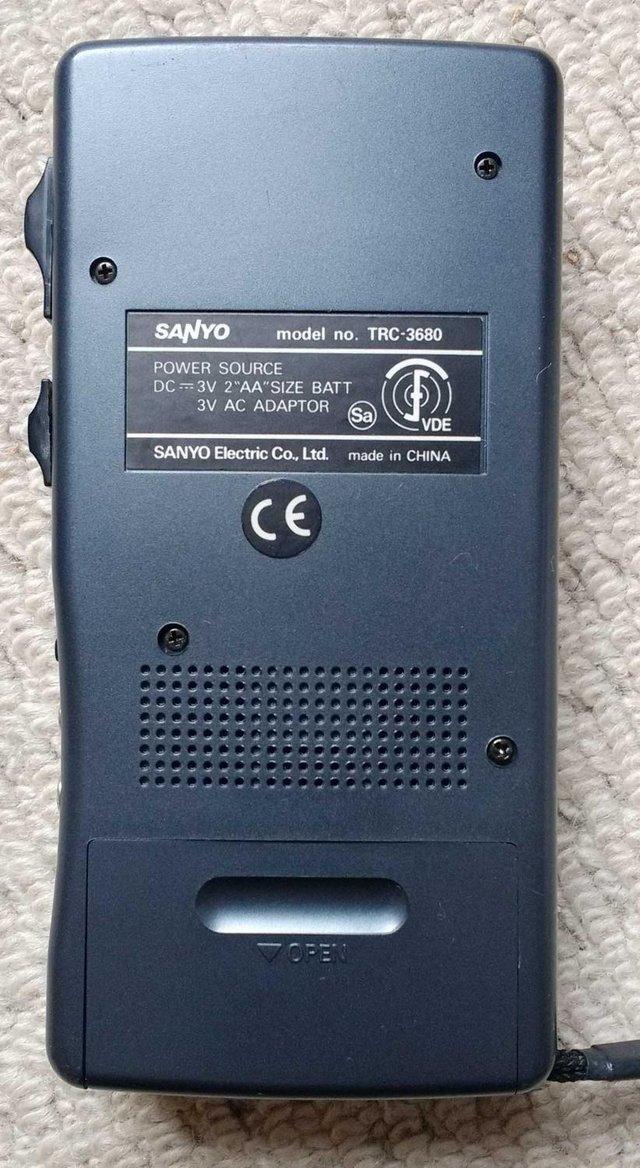 Image 4 of Sanyo TRC-3680 mini cassette voice recorder in pouch