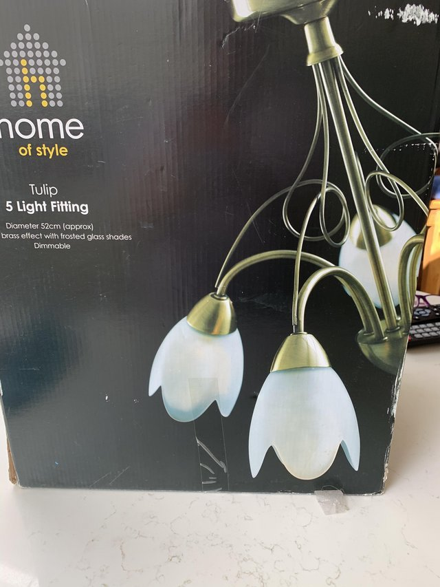 Preview of the first image of Ceiling light five arms tulip shape.