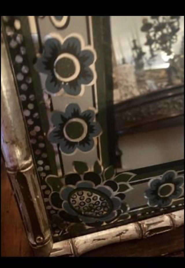 Preview of the first image of Vintage Hand Printed Mirror by Braddell Enterproses  England.