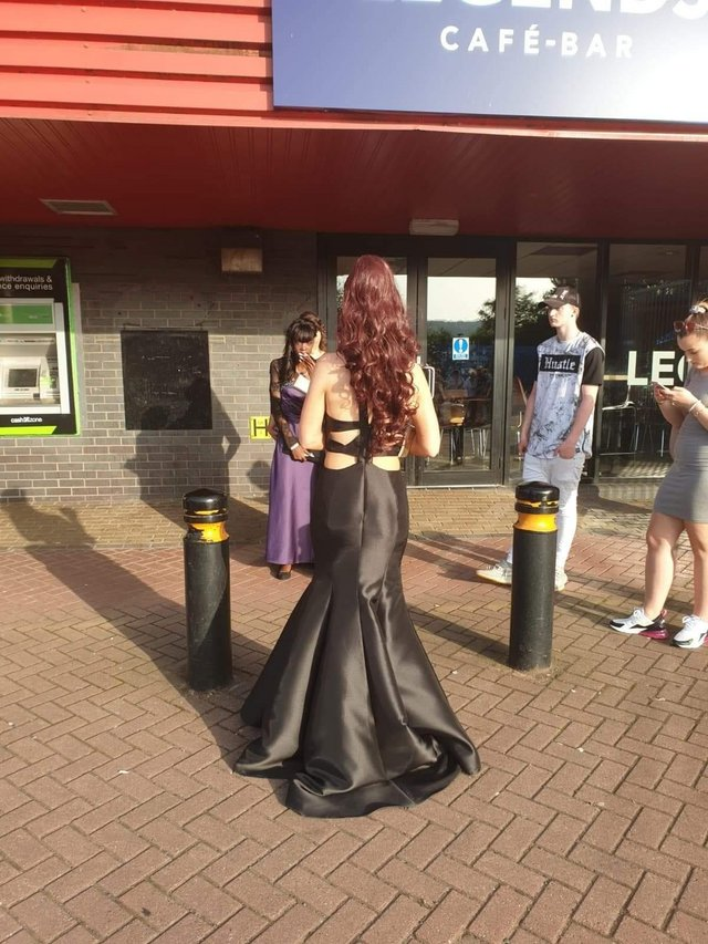 Preview of the first image of Prom dress size 8 black in ex condition.