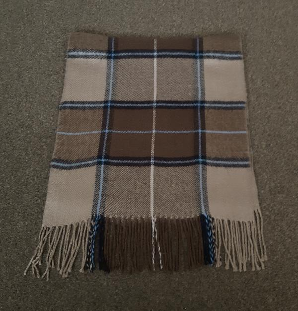Preview of the first image of Lovely Mens brown check scarf.