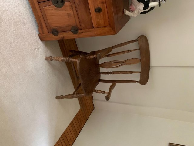 Image 2 of Pair of antique elm chairs, one rocking chair