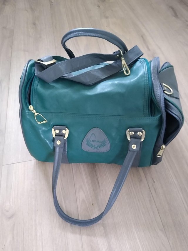 Preview of the first image of Retro Vintage Green & Grey Head Sports Gym Bag.