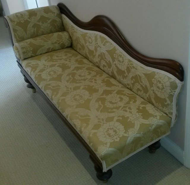 Preview of the first image of Antique Victorian Chaise Longue Mahogany Reupholstered.