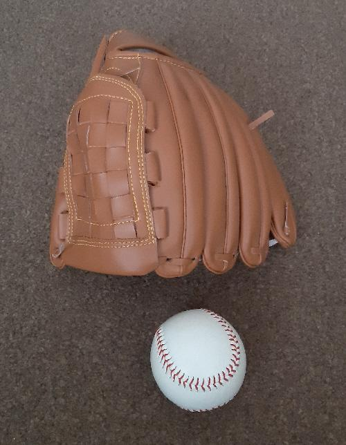 """Preview of the first image of New Crane Left Handed 12"""" Baseball Glove And Ball Set."""