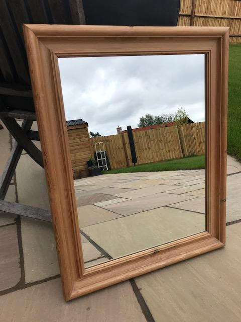 Preview of the first image of Antique Pine Mirror for sale.