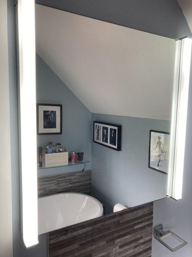 Preview of the first image of LED bathroom mirror with shaver socket.