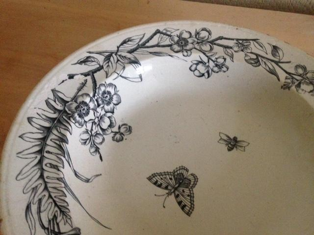 Preview of the first image of Antique white dish with flowers and moths design.
