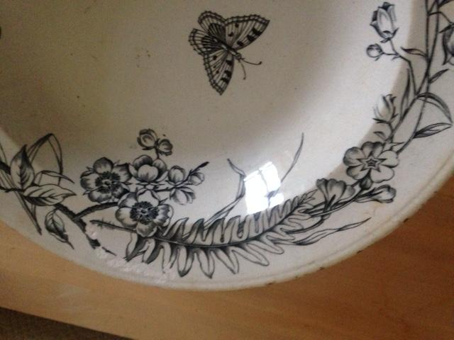 Image 2 of Antique white dish with flowers and moths design