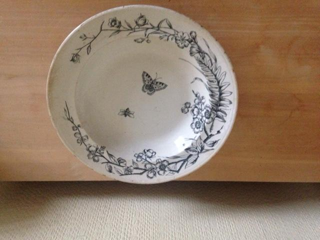 Image 3 of Antique white dish with flowers and moths design
