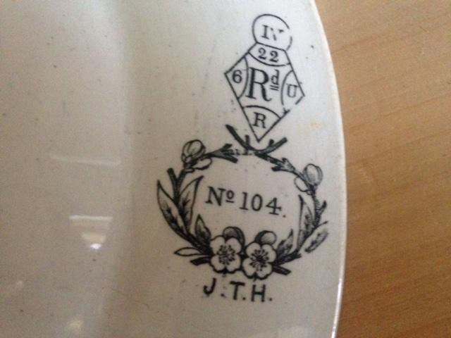 Image 4 of Antique white dish with flowers and moths design