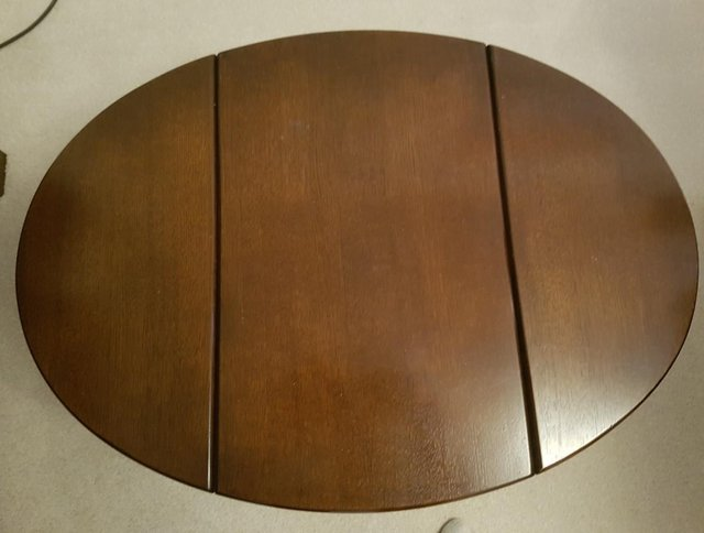 Image 3 of Small solid oak drop leaf coffee table, excellent condition.