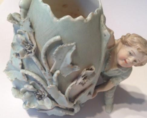 Preview of the first image of Vintage hand painted porcelain egg shaped pot.