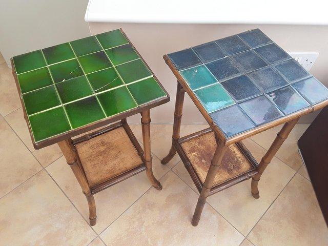 Preview of the first image of PAIR OF ANTIQUE 2 TIER BAMBOO SIDE TABLES GOOD CONDITION.