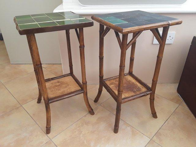 Image 2 of PAIR OF ANTIQUE 2 TIER BAMBOO SIDE TABLES GOOD CONDITION