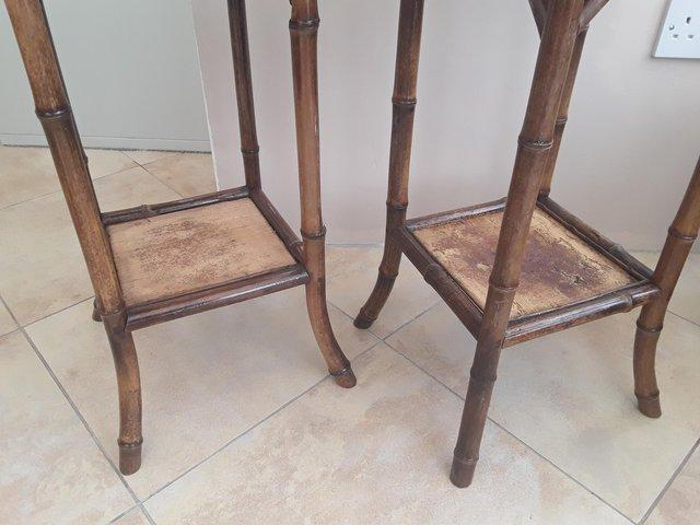 Image 3 of PAIR OF ANTIQUE 2 TIER BAMBOO SIDE TABLES GOOD CONDITION
