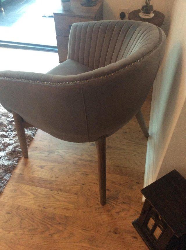 Image 2 of Grey Velvet armchair