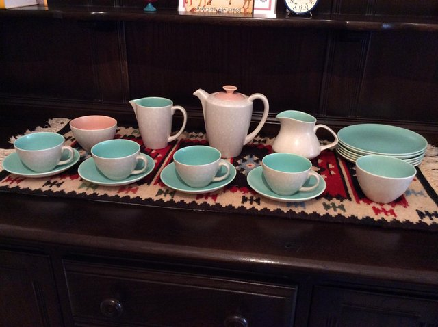 Preview of the first image of Vintage Poole Pottery Twintone coffee/tea set, 1970s..
