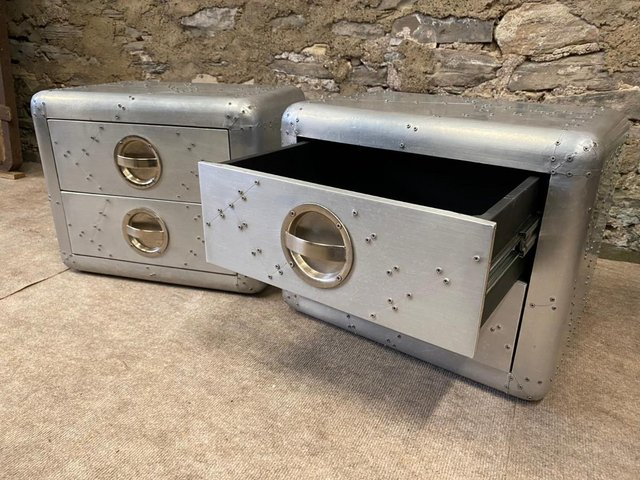 Preview of the first image of Pair of Aviator Aluminium Side Tables.