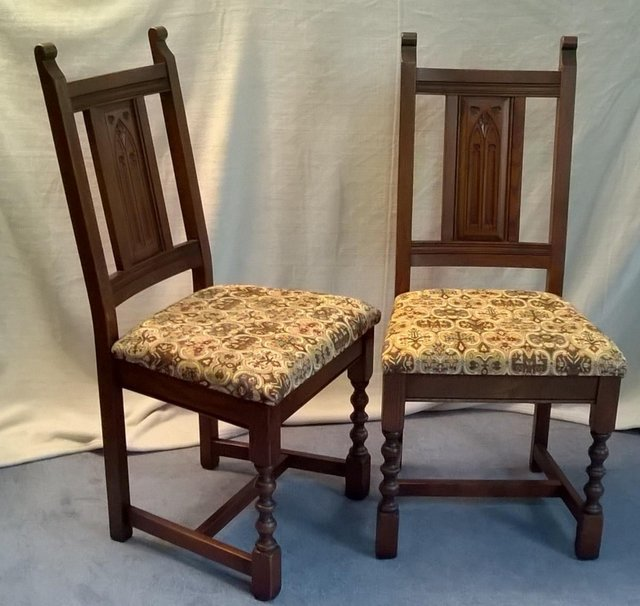 Image 4 of 8 OLD CHARM WARWICK DINING CHAIRS incl 2 CARVERS SOLID OAK