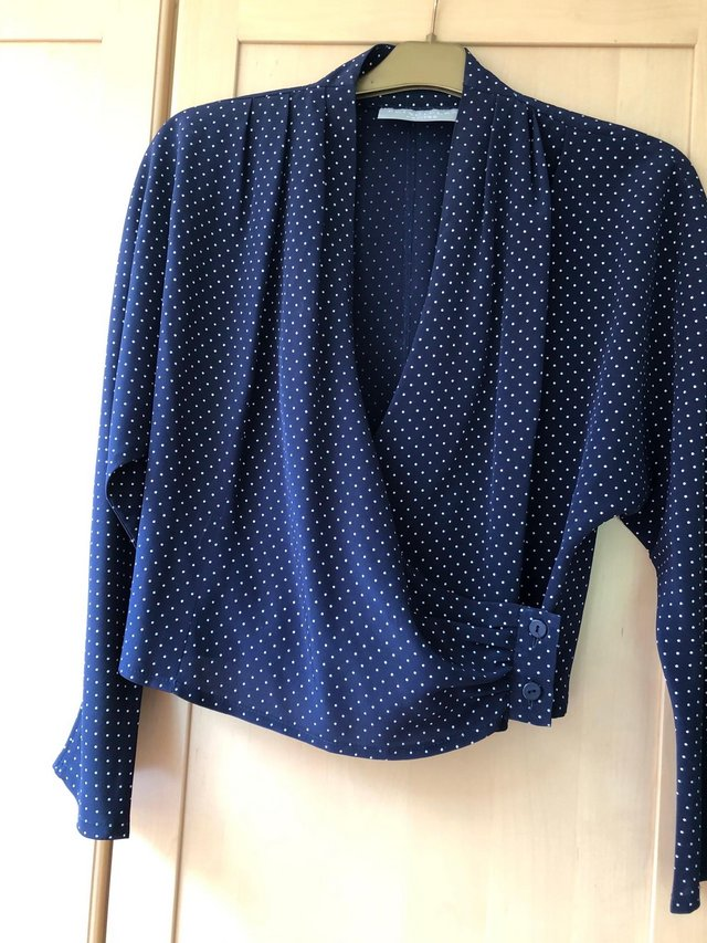 Image 2 of Navy blue / white polka dot long sleeved top size 12