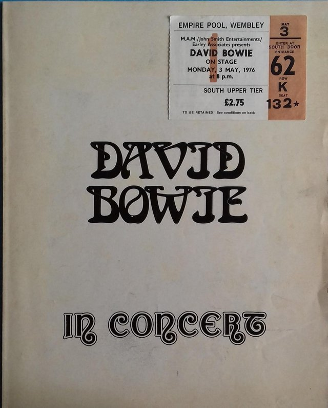 Preview of the first image of 1976 David Bowie UK 'Isolar' Tour Programme and concert stub.