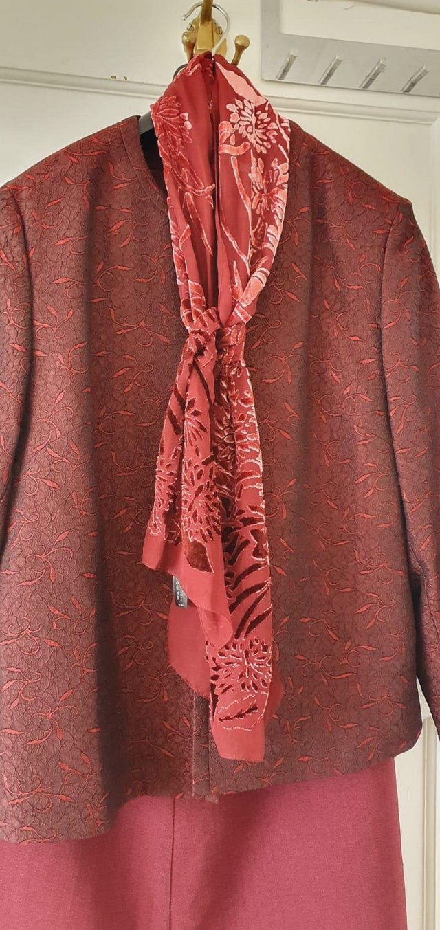 Preview of the first image of Eastex skirt suit plus top and coordinated scarf.