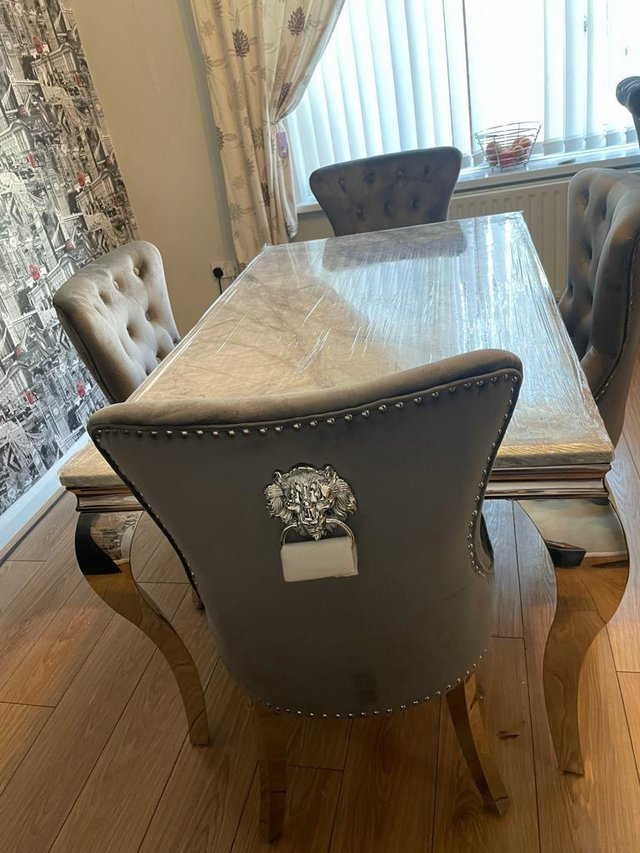 Image 2 of Brand new 1.5m grey marble table 4 lion chairs £899