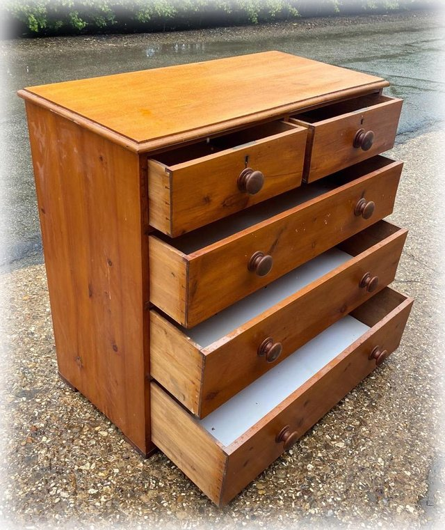 Image 3 of Antique stained pine chest of drawers