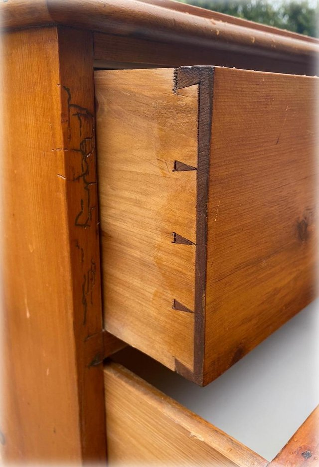 Image 4 of Antique stained pine chest of drawers