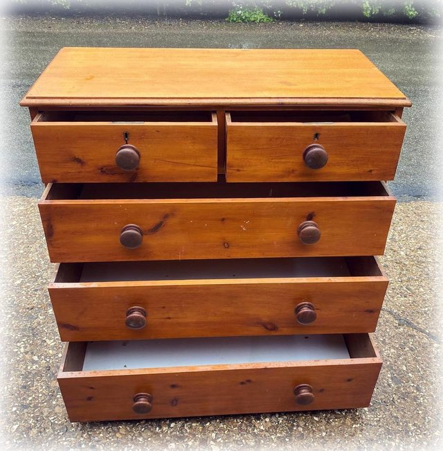 Image 5 of Antique stained pine chest of drawers