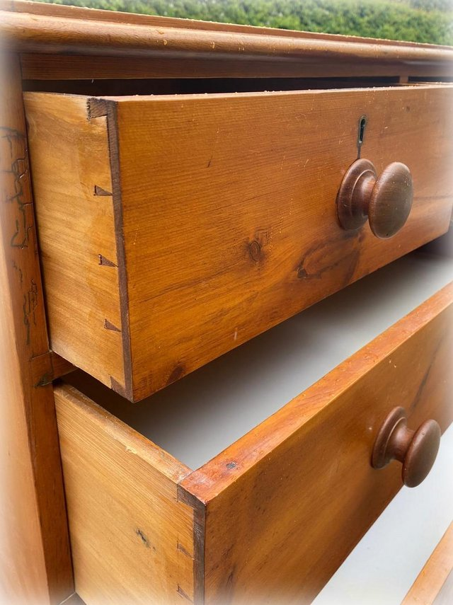 Image 6 of Antique stained pine chest of drawers