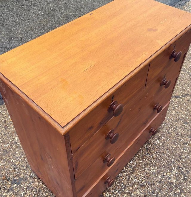 Image 7 of Antique stained pine chest of drawers