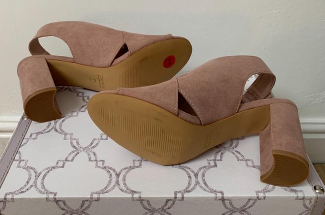 Preview of the first image of Dusky Pink Block Heel Wide Fit Sandles.