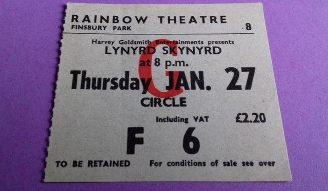Image 2 of 1977 Lynyrd Skynyrd UK Tour Programme + concert stub.