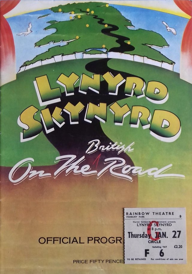 Preview of the first image of 1977 Lynyrd Skynyrd UK Tour Programme + concert stub..