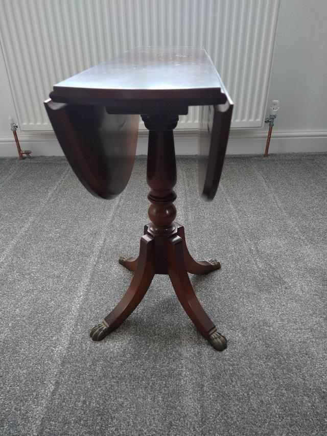 Preview of the first image of SMALL WOODEN FOLDING TABLE VERY GOOD QUALITY IDEAL FOR LOUNG.